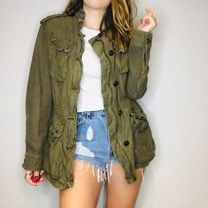 Free People green oversized army jacket coat